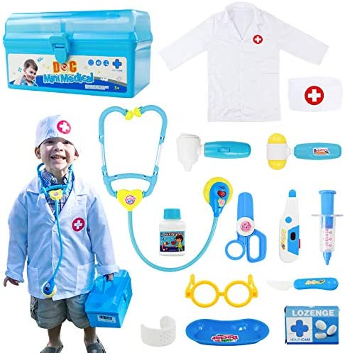 Fajiabao Doctor Kits for Kids Medical Set Toys Doctor Coat Indoor Family Cosplay Games Dress Up Costume Role Pretend Play Birthday Halloween Christmas for Toddlers Boys Girls 3 4 5 6 Years Old