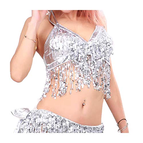 Wuchieal Women's Belly Dance Costume Sequin Bra Tassel Top with Chest Party Club Wear Bra Top (One Size, Silver) -