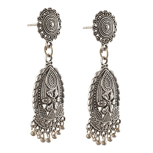 Zephyrr Fashion Hanging Pierced German Silver Earrings with Beads For Girls and Women