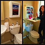 Small Bathroom Storage Ideas Over Toilet As Seen On The Today Show. My Flip Frame. COUNTER / STORAGE / ART. Medicine Cabinet, Pedestal Sink Must-Have. Clear Clutter, Add Beauty, Organize, THE ONLY Extra Counter For; Bathroom, Office, Kitchen