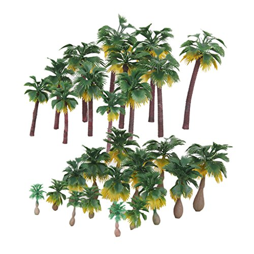 MagiDeal 27Pcs Landscape Layout Model Tree Palm Trees Rain Forests HO O N Z Scale