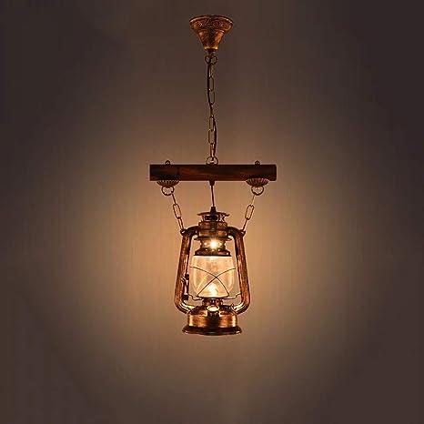 XAJGW Barco antiguo Linterna de madera Vintage Kerosene Araña LOFT Nostalgia antigua Metal Lámpara de madera