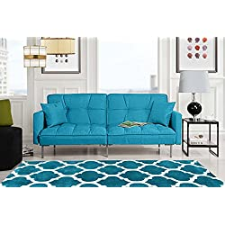 Divano Roma Furniture Collection - Modern Plush Tufted Linen Fabric Splitback Living Room Sleeper Futon (Light Blue)