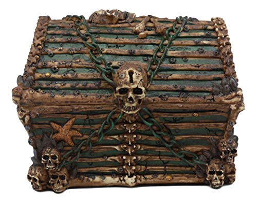 Ebros Pirate Davy Jones Ghost Haunted Sunken Ship Small Treasure Chest Box Featuring A Cross Chained Skull Jewelry Box Figurine As Decorative Secret Stash Box Container Organizer For Gothic Halloween ()