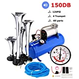 150DB Train Air Horn Kit, 4 Trumpet Train Horn Kit with 120 PSI Air Compressor 1.5 Gal Air Tank for Car Truck Train Van Boat (Blue)