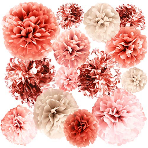 Elegant Party Decorations (VINANT 20 PCS Rose Gold Party Decorations - Metallic Foil and Tissue Paper Pom Poms - Baby Shower - Bridal Shower - Wedding - Bachelorette - Birthday Party - 14