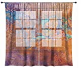 Abstract art sheer drapes, set with two 50''x84'' panels in turquoise and orange, Southwest Archetype