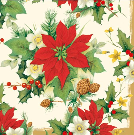 Poinsettia Napkin - Christmas Paper Luncheon Napkins 2 X 20pcs 13