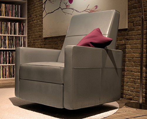 Dutailier Minho Upholstered Glider Recline, Swivel with Built-in Footrest, Castle (Dutailier Modern Glider)