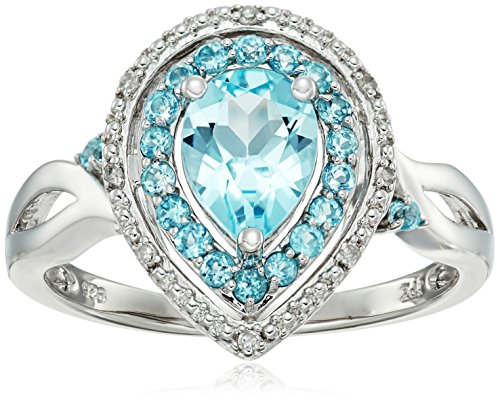 Blue Ring Diamond Accent (Sterling Silver Teardrop Halo Blue-Topaz and Diamond Accent Ring, Size 8)