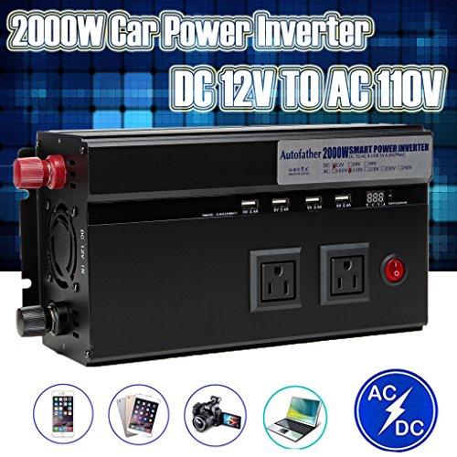Newest Car Power Inverter 2000 Watt 12V DC to AC 110V Converter 4 USB Charging Ports + 2 US Standard Outlets + 2 Cigar Lighter Sockets for Car Truck Vehicle Automotive US Ship ()