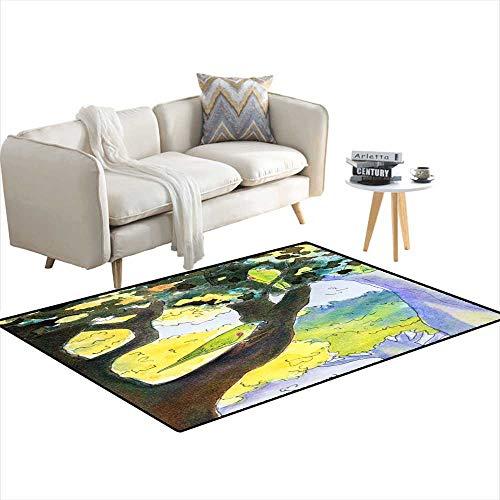 Kids Carpet Playmat Rug Original Painting of Mini Macaw Parrots -