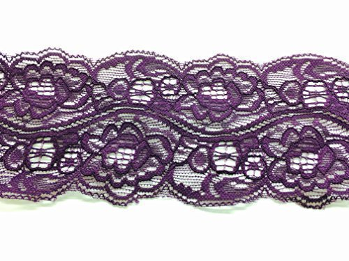 rs 75mm Wide Floral Lace Trim - Eyelash Mesh Crochet For Sewing, Embroidery, Or Knitting - Trimming Dresses, Gothic Lolita Costumes, And Bridal Gowns 5M X 75Mm Purple (Eyelash Ribbon)