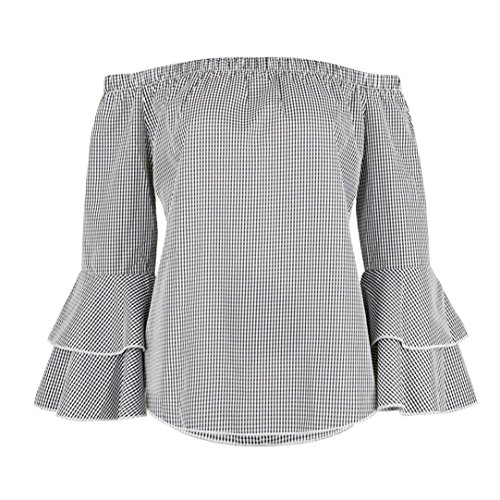 Rawdah Camisa a cuadros para mujer de los hombros Top Blare manga larga Blusa Gris