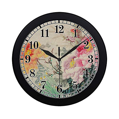 (InterestPrint Peony Flowers Traditional Oriental Chinese Ink and Wash Painting Modern Round Wall Clock Decorative Quartz Clock for Office School Kitchen Bedroom Living Room, Black)
