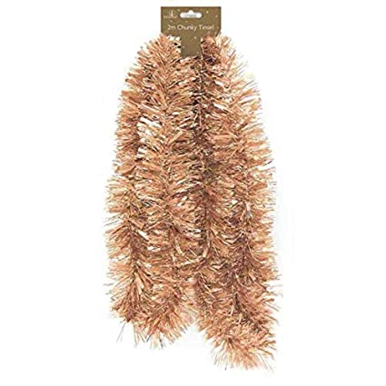 Rose Gold Traditional Christmas Tinsel 2 Metres 6 5 Ft Trees