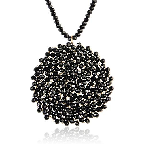 RIAH FASHION Bohemian Pendant Beaded Long Statement Necklace - Sparkly Crystal Bead Boho Braided Disc Wired Round Circle Charm (Round - Black)