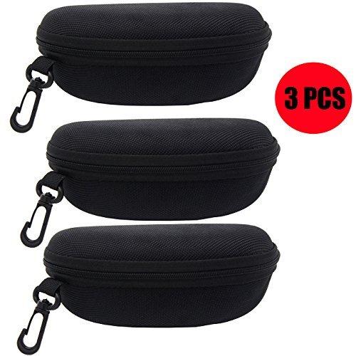 ZZ Sanity (3PCS) Portable Travel Zipper Sunglasses Hard Case Eyes Glasses Box Bag (3pcs-Black)