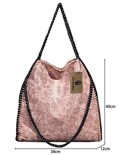 Sac Porté Boutique Pochette Fourre Pink Chaînes Ichic Léger Sacoche à Léger Pink Femme Bandoulière Épaule Main Tout pEddw8q