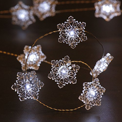 Christmas Lights for Home Decorations, Impress Life Snowflake Copper Wire 10 ft 40 Cold White LEDs with Remote for Covered Outdoor, Wedding, Birthday, Bedroom, Living Room, DIY Home Parties Decorating