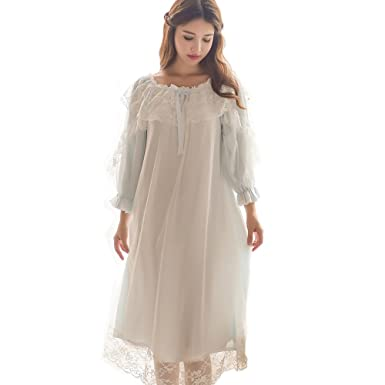 Women s Victorian Nightgown Vintage Sleepwear Lace Chemise Lounge Dress  Pajamas (Blue) 91544d221