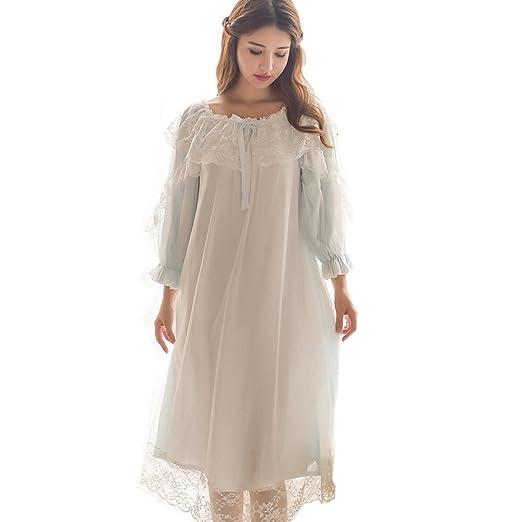 Women s Victorian Nightgown Vintage Sleepwear Lace Chemise Lounge Dress  Pajamas (Blue) 0a18db118f54