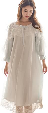 Singingqueen Women's Victorian Nightgown Vintage Sleepwear Lace Chemise Lounge Dress Pajamas