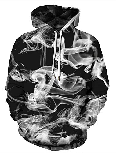 (Xiaohudui Unisex Realistic Smoke 3D Printed Casual Street Style Boys Girls Sweatshirt Pullover Hoodie for Men Women)