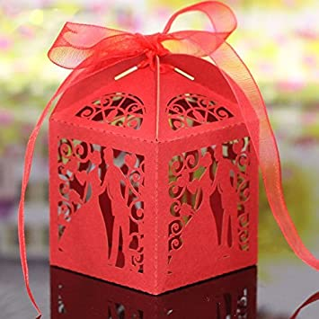 PONATIA 50pcs/Lot Colorful Bride and Groom Candy Box Paper Wedding Favors Candy Boxes Party Wrapper (Red)