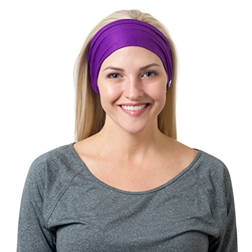 Purple Solid and Purple Striped Headbands  One - Womens Outfit Triathlon