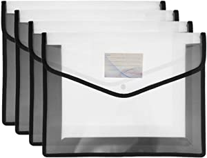 FJCA 4pcs Plastic File Wallet Legal Size Expandable Envelope with Pockets Snap Closure Clear Folder for Office Black