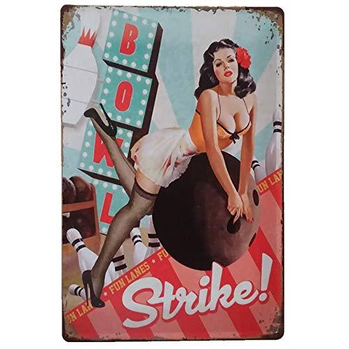 PEI's Retro Vintage Sexy Girls Tin Metal Signs, Wall Decor for Home Garage Liquor Bar Man Cave Gas Station, 8'x12'/20x30cm
