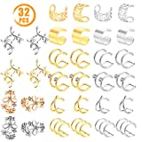 Quacoww 16 Pairs Gold and Silver Cartilage Clip on Earring Ear Cuff Non Piercing Cartilage Earrings for Ladies and Girls