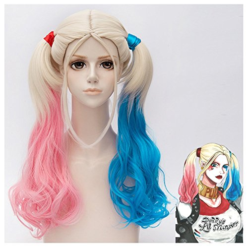 Broadmix Suicide Squad Harley Quinn Cosplay Wig - Mid Long Curly on Ponytails A