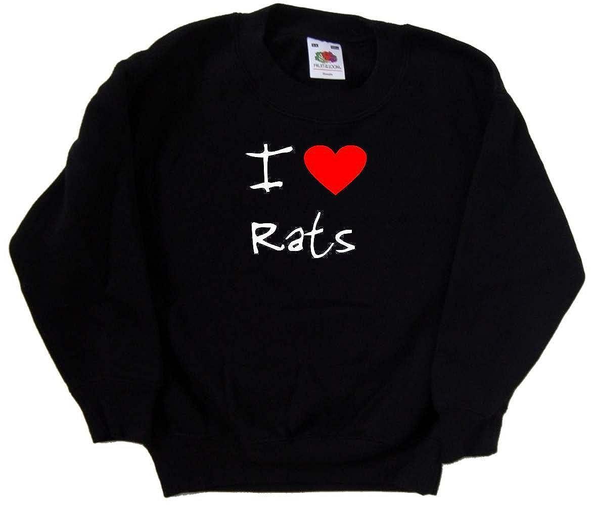 I Love Heart Rats Black Kids Sweatshirt