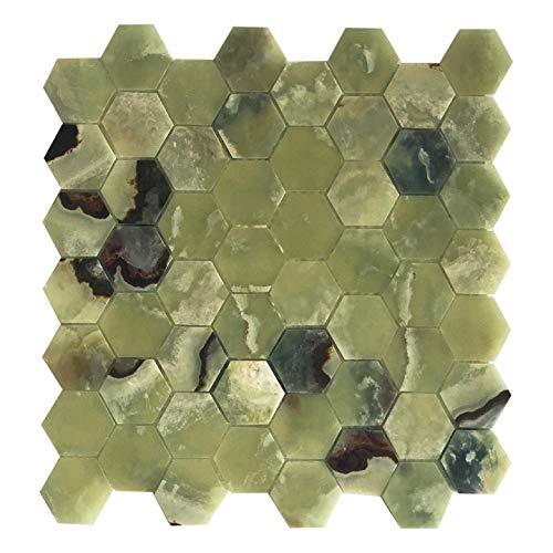 Green Meadow Onyx Hexagon Mosaic Tile ()