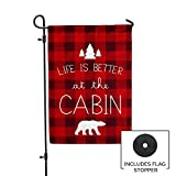 Second East Life is Better at the Cabin Flag Outdoor Patio Fabric 12'' X 18''