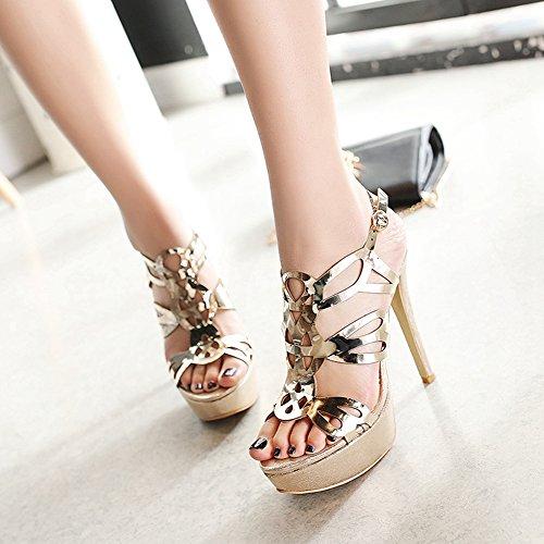 Forme Chaussures Gold Plate TAOFFEN à Ouvert Talon Sandales Haut Bout d'Été Femmes xwOYXg