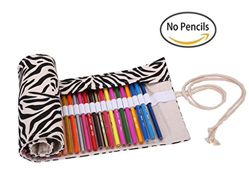 Colored Pencils Wrap, TopRay Large Capacity Coloured Pencils Roll Up Canvas Pencil Bag Pouch Holder For Artist, Colouring Pencil Gel Pen Storage Case-…
