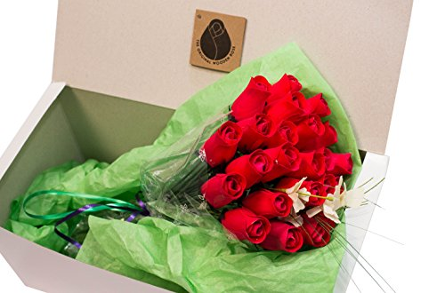 The Original Wooden Rose All Red Roses Floral Flower Bouquets in a Gift Box (3 Dozen) ...