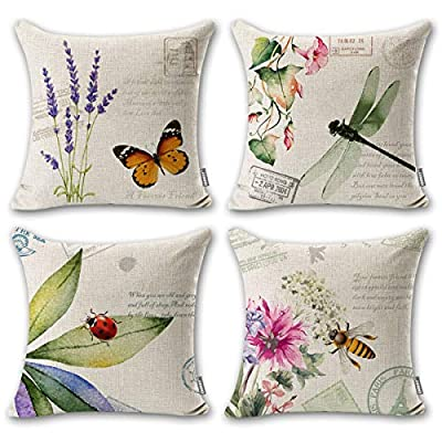 "ONWAY Outdoor Garden Decoration Bee/Butterfly/Dragonfly/Ladybug Pillow Case Leaf/Lavender/Flower Decorative Throw Pillow Covers 18 x 18 Inches, Set of 4 - MATERIAL: 100% handmade and made of environment-friendly material and fabric--50% Cotton + 50% Linen COLOR&SIZE: Sand-like color ( Not white) bee ladybug throw pillow covers are 18 x 18 inches (standard decorative throw pillow cover size 45 x 45 cm) and can be used with 18"" x 18"" or 20"" x 20"" pillow inserts. WIDELY USED: Makes the perfect accent on a couch, sofa, chair, window seat or bed. It also makes a perfect housewarming or birthday gift. - patio, outdoor-throw-pillows, outdoor-decor - 51pf9chqTkL. SS400  -"
