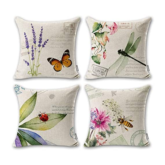 "ONWAY Outdoor Garden Decoration Bee/Butterfly/Dragonfly/Ladybug Pillow Case Leaf/Lavender/Flower Decorative Throw Pillow… - MATERIAL: 100% handmade and made of environment-friendly material and fabric--50% Cotton + 50% Linen COLOR&SIZE: Sand-like color ( Not white) bee ladybug throw pillow covers are 18 x 18 inches (standard decorative throw pillow cover size 45 x 45 cm) and can be used with 18"" x 18"" or 20"" x 20"" pillow inserts. WIDELY USED: Makes the perfect accent on a couch, sofa, chair, window seat or bed. It also makes a perfect housewarming or birthday gift. - patio, outdoor-throw-pillows, outdoor-decor - 51pf9chqTkL. SS570  -"