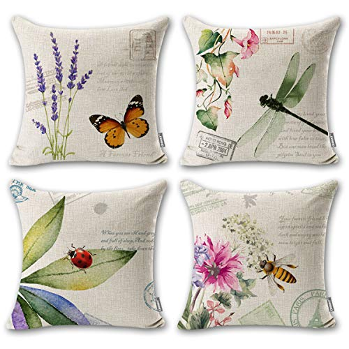 ONWAY Outdoor Garden Decoration Bee/Butterfly/Dragonfly/Ladybug Pillow Case Leaf/Lavender/Flower Decorative Throw Pillow Covers 18 x 18 Inches, Set of 4 ()