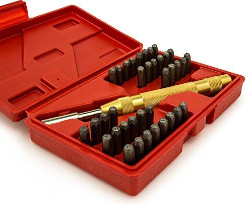 [해외]Bastex 39p 금속 우편 번호 및 문자 알파벳 스탬프 스탬핑 펀치 도구 세트 키트/Bastex 39pc Steel Metal Number and Letter Alphabet ID Stamping Punch Tool Set Kit