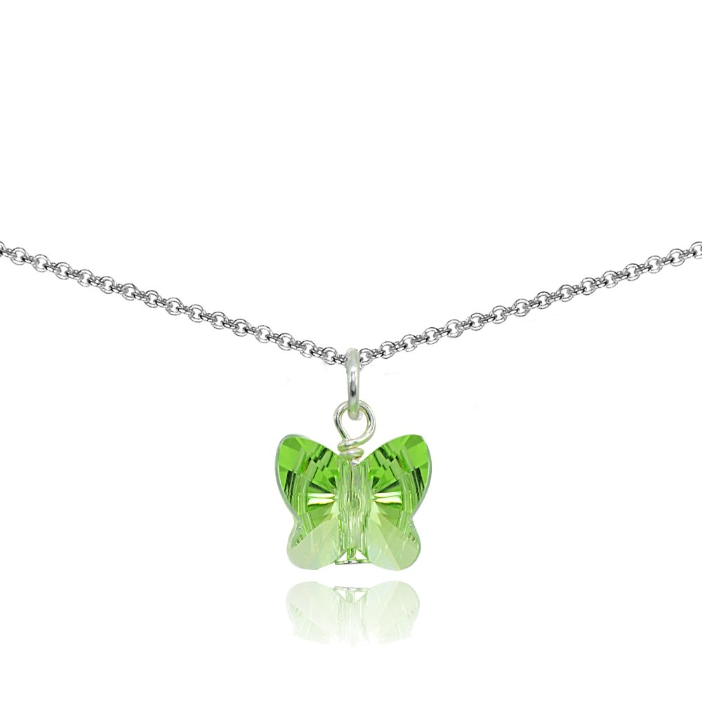Sterling Silver Light Green Butterfly Choker Necklace Made with Swarovski Crystals for Women Teens Girls Children