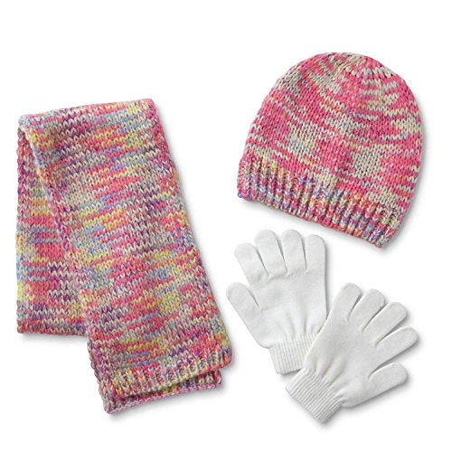 Athletech Girls' Hat, Scarf & Gloves multicolor with white gloves
