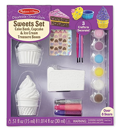 Melissa & Doug Decorate-Your-Own Sweets Set Craft Kit: 2 Treasures Boxes and...