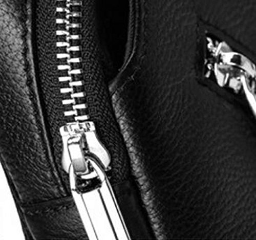 Hombres De Cuero De Pecho Bolsa De Hombro Mensajero De La Bolsa De Los Hombres De Ocio De La Juventud Bolsos Bolsa De Moda De Moda Bolso De Pecho Black