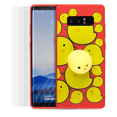 SOJITEK Samsung Galaxy Note 8 Case 3D Squishy Red Color Adorable Chick Toy Kneading Eraser Squeeze Phone Case for Samsung Galaxy Note 8 [with 5PK Anti Scratch TPU Film Screen Protector]