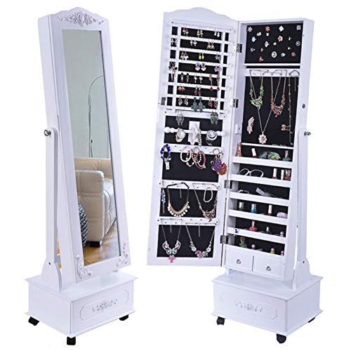LLGHT Gabinete de Joyeria, Soporte de Almacenamiento Ancho con Espejo, Organizador de Joyas con Ganchos, Gabinete de Espejo de Joyeria de Dormitorio de Cuatro Ruedas, Maquillaje, Bloqueable
